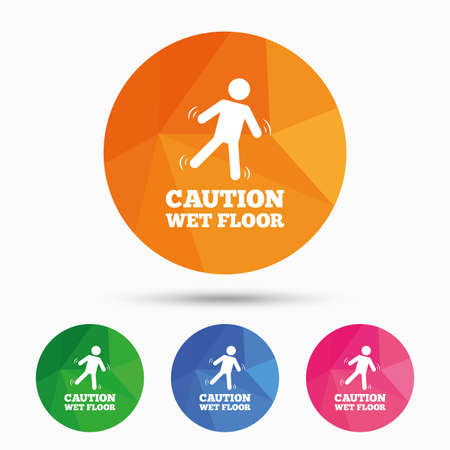 wet floor sign: Caution wet floor sign icon. Human falling symbol. Triangular low poly button with flat icon. Vector