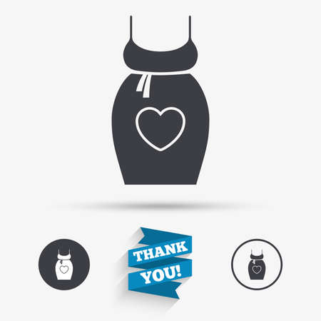 big breast: Pregnant woman dress sign icon. Maternity with heart clothing symbol Flat icons. Buttons with icons. Thank you ribbon. Vector Illustration