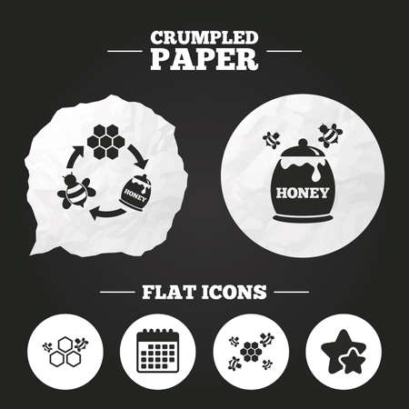 fructose: Crumpled paper speech bubble. Honey icon. Honeycomb cells with bees symbol. Sweet natural food signs. Paper button. Vector