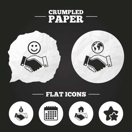 amicable: Crumpled paper speech bubble. Handshake icons. World, Smile happy face and house building symbol. Dollar cash money bag. Amicable agreement. Paper button. Vector