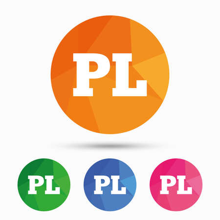 pl: Polish language sign icon. PL translation symbol. Triangular low poly button with flat icon. Vector