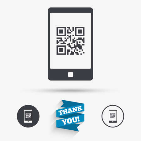 coded: Qr code sign icon. Scan code in smartphone symbol. Coded word - success! Flat icons. Buttons with icons. Thank you ribbon. Vector