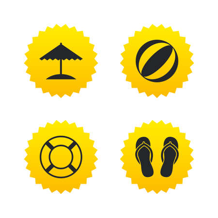 Beach holidays icons. Ball, umbrella and flip-flops sandals signs. Lifebuoy symbol. Yellow stars labels with flat icons. Vector Illustration