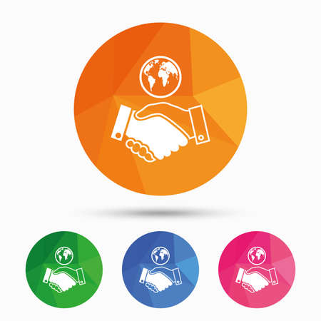 amicable: World handshake sign icon. Amicable agreement. Successful business with globe symbol. Triangular low poly button with flat icon. Vector Illustration