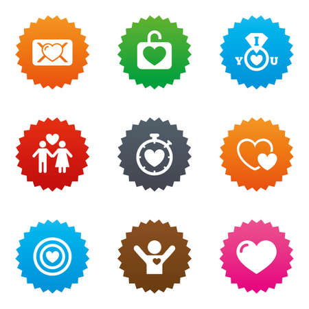 oath: Love, valentine day icons. Target with heart, oath letter and locker symbols. Couple lovers, boyfriend signs. Stars label button with flat icons. Vector Illustration