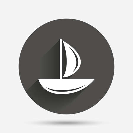 ship sign: Sail boat icon. Ship sign. Shipment delivery symbol. Circle flat button with shadow. Vector