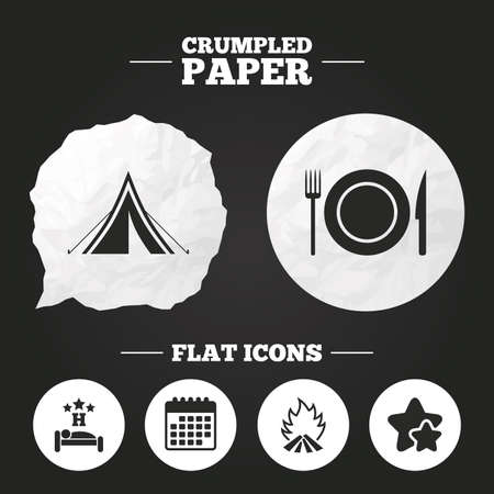 breakfast in bed: Crumpled paper speech bubble. Food, sleep, camping tent and fire icons. Knife, fork and dish. Hotel or bed and breakfast. Road signs. Paper button. Vector