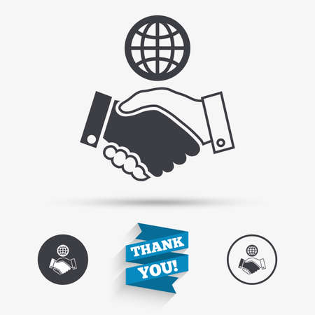 amicable: World handshake sign icon. Amicable agreement. Successful business with globe symbol. Flat icons. Buttons with icons. Thank you ribbon. Vector
