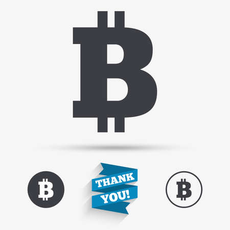 peer: Bitcoin sign icon. Cryptography currency symbol. P2P. Flat icons. Buttons with icons. Thank you ribbon. Vector