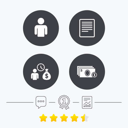 filling folder: Bank loans icons. Cash money bag symbol. Apply for credit sign. Fill document and get cash money. Chat, award medal and report linear icons. Star vote ranking. Vector Illustration