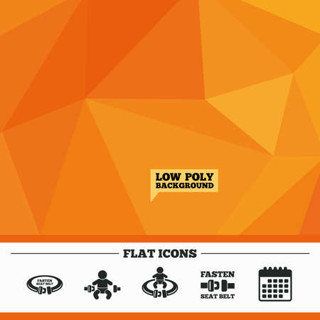 child safety: Triangular low poly orange background. Fasten seat belt icons. Child safety in accident symbols. Vehicle safety belt signs. Calendar flat icon. Vector