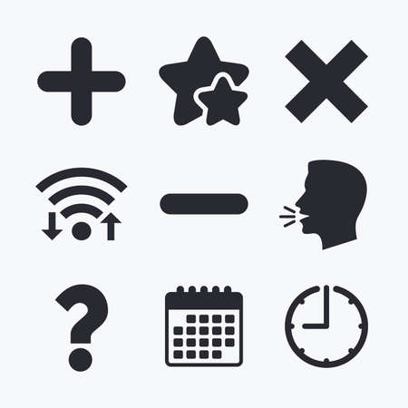 clear out: Plus and minus icons. Delete and question FAQ mark signs. Enlarge zoom symbol. Wifi internet, favorite stars, calendar and clock. Talking head. Vector
