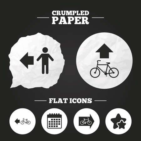 trail sign: Crumpled paper speech bubble. Pedestrian road icon. Bicycle path trail sign. Cycle path. Arrow symbol. Paper button. Vector Illustration