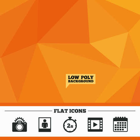 seconds: Triangular low poly orange background. Photo camera icon. Flash light and video frame symbols. Stopwatch timer 2 seconds sign. Human portrait photo frame. Calendar flat icon. Vector Illustration