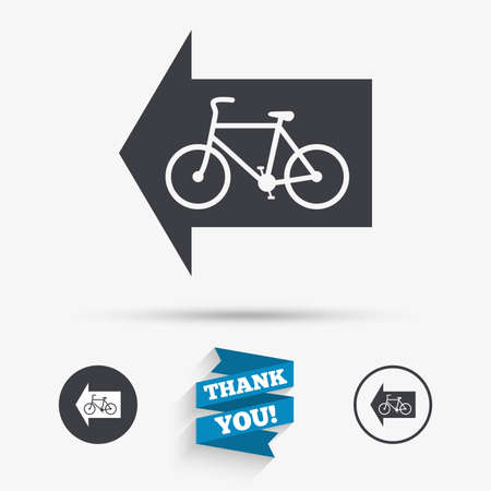 trail sign: Bicycle path trail sign icon. Cycle path. Left arrow symbol. Flat icons. Buttons with icons. Thank you ribbon. Vector Illustration