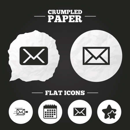 webmail: Crumpled paper speech bubble. Mail envelope icons. Message delivery symbol. Post office letter signs. Paper button. Vector