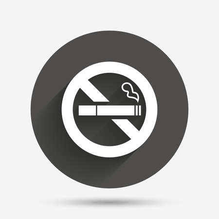 quit: No Smoking sign icon. Quit smoking. Cigarette symbol. Circle flat button with shadow. Vector