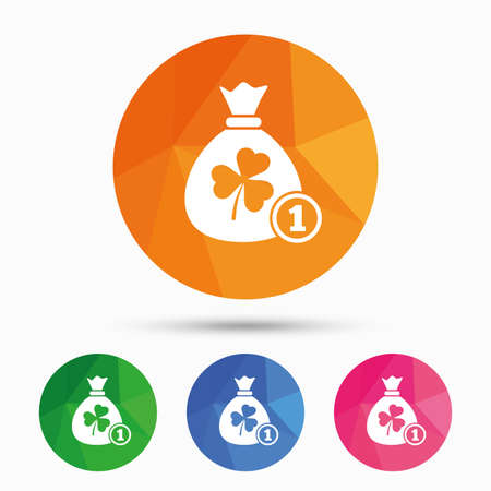 clover buttons: Money bag with three leaves clover and coin sign icon. Saint Patrick trefoil shamrock symbol. Triangular low poly button with flat icon. Vector Illustration