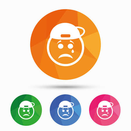 triangular eyes: Sad rapper face with tear sign icon. Crying chat symbol. Triangular low poly button with flat icon. Vector Illustration