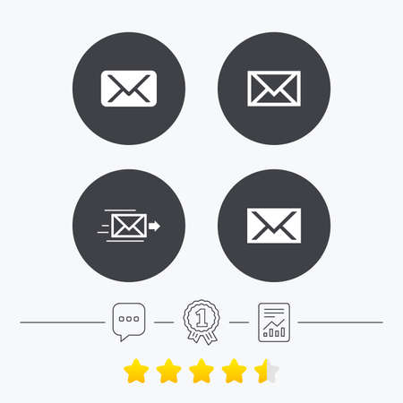 webmail: Mail envelope icons. Message delivery symbol. Post office letter signs. Chat, award medal and report linear icons. Star vote ranking. Vector