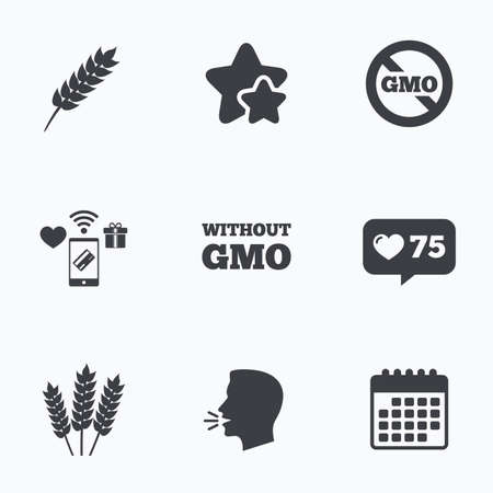 genetically modified crops: Agricultural icons. Gluten free or No gluten signs. Without Genetically modified food symbols. Flat talking head, calendar icons. Stars, like counter icons. Vector