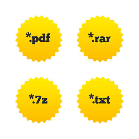 algorithms: Document icons. File extensions symbols. PDF, RAR, 7z and TXT signs. Yellow stars labels with flat icons. Vector Illustration