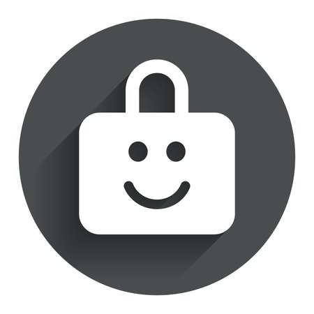 child protection: Child lock icon. Locker with smile symbol. Child protection. Circle flat button with shadow. Modern UI website navigation. Vector