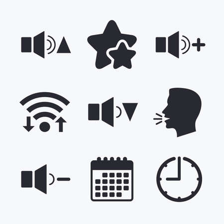 quieter: Player control icons. Sound louder and quieter signs. Dynamic symbol. Wifi internet, favorite stars, calendar and clock. Talking head. Vector