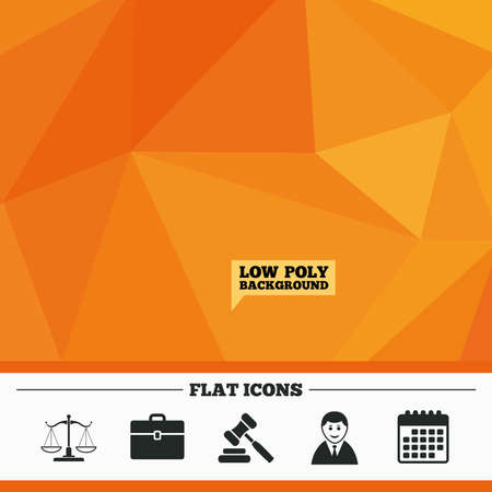 court symbol: Triangular low poly orange background. Scales of Justice icon. Client or Lawyer symbol. Auction hammer sign. Law judge gavel. Court of law. Calendar flat icon. Vector