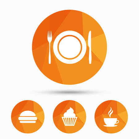 Food and drink icons. Muffin cupcake symbol. Plate dish with fork and knife sign. Hot coffee cup and hamburger. Triangular low poly buttons with shadow. Vector