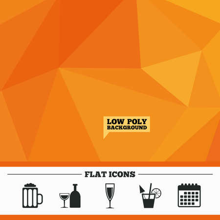 champagne orange: Triangular low poly orange background. Alcoholic drinks icons. Champagne sparkling wine and beer symbols. Wine glass and cocktail signs. Calendar flat icon. Vector Illustration