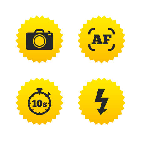 autofocus: Photo camera icon. Flash light and autofocus AF symbols. Stopwatch timer 10 seconds sign. Yellow stars labels with flat icons. Vector