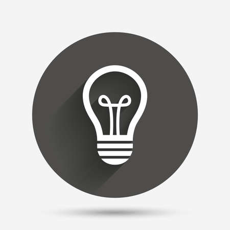 shadows: Light lamp sign icon. Idea symbol. Circle flat button with shadow. Vector