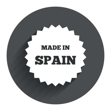 made in spain: Made in Spain icon. Export production symbol. Product created sign. Circle flat button with shadow. Modern UI website navigation. Vector Illustration
