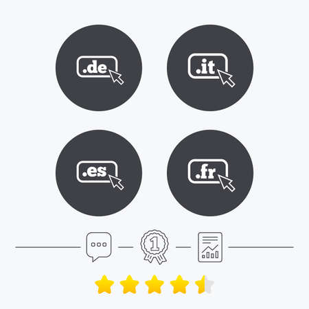 vector es: Top-level internet domain icons. De, It, Es and Fr symbols with cursor pointer. Unique national DNS names. Chat, award medal and report linear icons. Star vote ranking. Vector Illustration