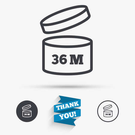36: After opening use 36 months sign icon. Expiration date. Flat icons. Buttons with icons. Thank you ribbon. Vector Illustration