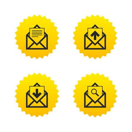 webmail: Mail envelope icons. Find message document symbol. Post office letter signs. Inbox and outbox message icons. Yellow stars labels with flat icons. Vector
