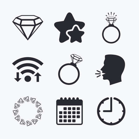 fiance: Rings icons. Jewelry with shine diamond signs. Wedding or engagement symbols. Wifi internet, favorite stars, calendar and clock. Talking head. Vector Illustration