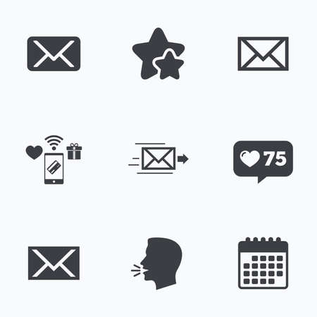 webmail: Mail envelope icons. Message delivery symbol. Post office letter signs. Flat talking head, calendar icons. Stars, like counter icons. Vector Illustration