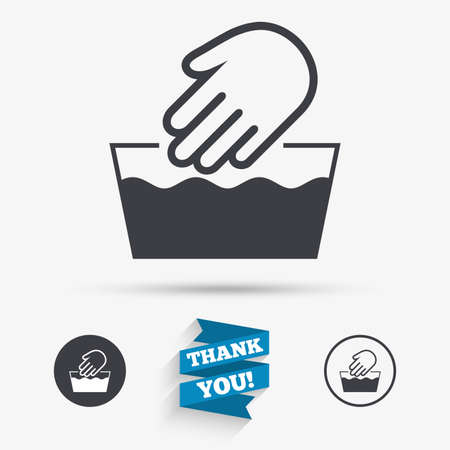 Hand Wash Sign Icon Not Machine Washable Symbol Flat Icons