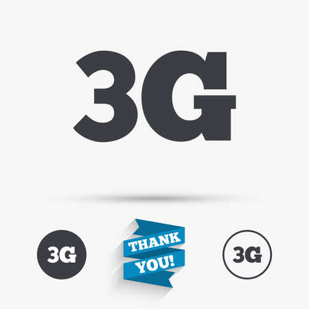 3g: 3G sign icon. Mobile telecommunications technology symbol. Flat icons. Buttons with icons. Thank you ribbon. Vector