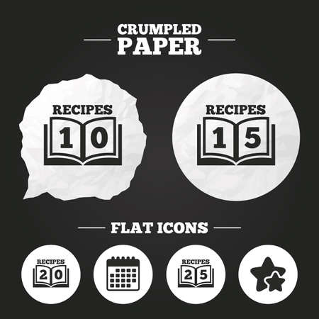 15 to 20: Crumpled paper speech bubble. Cookbook icons. 10, 15, 20 and 25 recipes book sign symbols. Paper button. Vector
