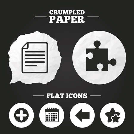 puzzle corners: Crumpled paper speech bubble. Plus add circle and puzzle piece icons. Document file and back arrow sign symbols. Paper button. Vector Illustration
