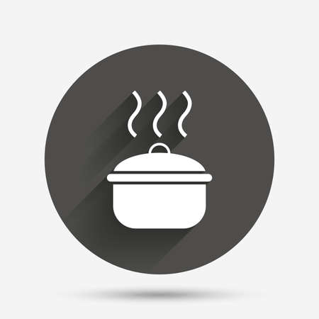 boil: Cooking pan sign icon. Boil or stew food symbol. Circle flat button with shadow. Vector Illustration