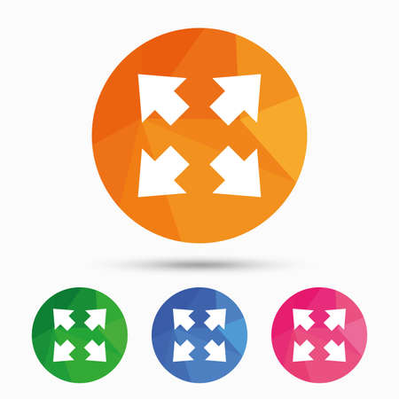 Fullscreen sign icon. Arrows symbol. Icon for App. Triangular low poly button with flat icon. Vector Illustration