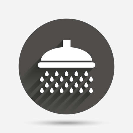 washstand: Shower sign icon. Douche with water drops symbol. Circle flat button with shadow. Vector