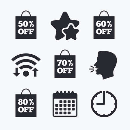 50 to 60: Sale bag tag icons. Discount special offer symbols. 50%, 60%, 70% and 80% percent off signs. Wifi internet, favorite stars, calendar and clock. Talking head. Vector