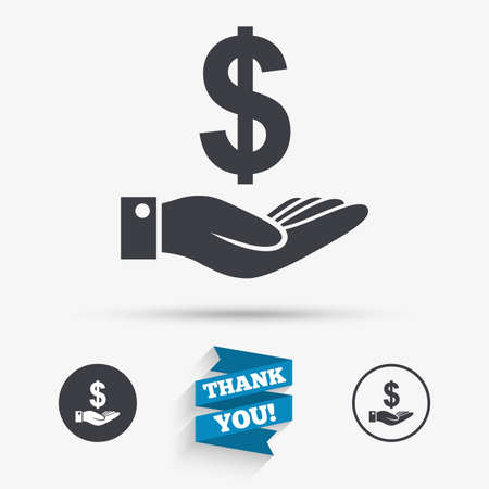 usd: Dollar and hand sign icon. Palm holds money USD currency symbol. Flat icons. Buttons with icons. Thank you ribbon. Vector