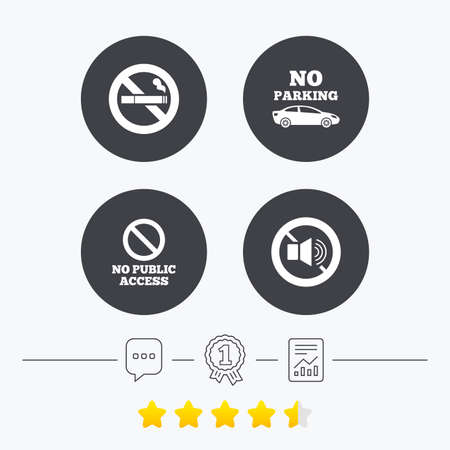 private access: Stop smoking and no sound signs. Private territory parking or public access. Cigarette symbol. Speaker volume. Chat, award medal and report linear icons. Star vote ranking. Vector