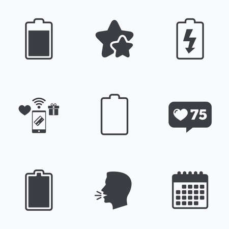 electrochemical: Battery charging icons. Electricity signs symbols. Charge levels: full, empty. Flat talking head, calendar icons. Stars, like counter icons. Vector